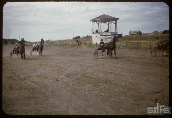 Shaunavon Fair - harness races.  Shaunavon.  07/27/1955