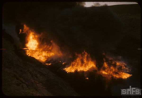 Oil sludge fire..  Shaunavon.  06/30/1958