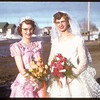 Bride Jean Patterson and Brides Maid Gladys Hoffarth.  Shaunavon.  04/06/1955