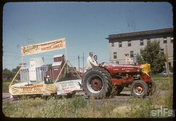 Jubilee Fair Parade - Town of Kindersley Float.  Shaunavon.  07/26/1955