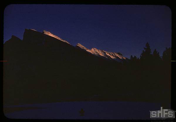 Sunset on Mount Rundle.  Banff.  01/13/1958
