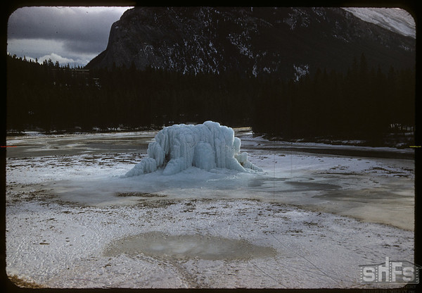 Ice on the Bow river..  Banff.  01/14/1958