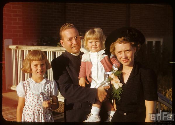 Mr & Mrs Alex Rice with children Betty and Karen.  Shaunavon.  09/20/1950