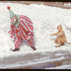 Tiger chases clown - Danny Morrow & dad..  Shaunavon.  03/26/1951