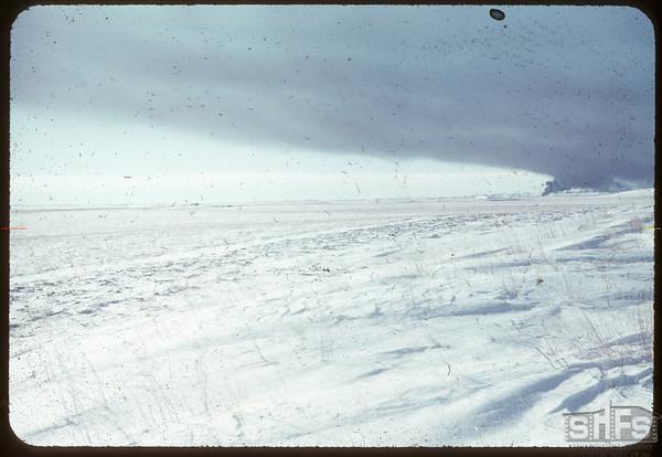 Burning oil tanks..  Shaunavon.  02/07/1955