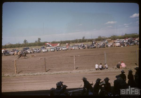 Shaunavon rodeo  - calf roping.  Shaunavon.  07/23/1957