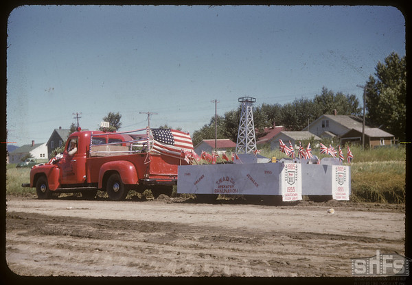 Jubilee Fair Parade - T.W.A.O. Comp. float.  Shaunavon.  07/26/1955
