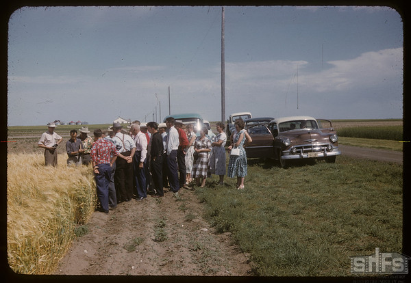 District 3 - test plot gang at Experimental Farm.  Swift Current.  08/05/1957