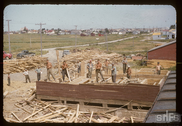 Wrecking Pool elevator to build another.  Aneroid 07/22/1955