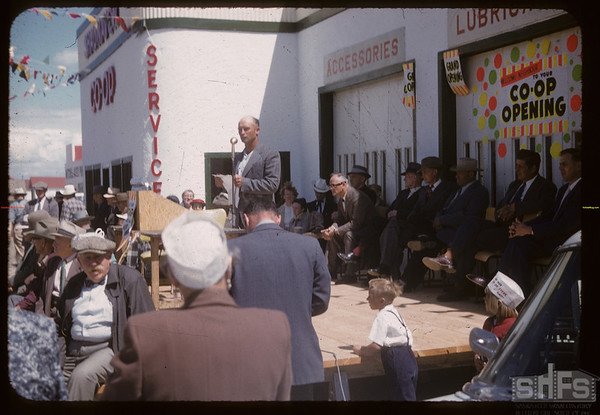 President Wallie Wilkins at Co-op service station opening.  Shaunavon.  06/27/1957