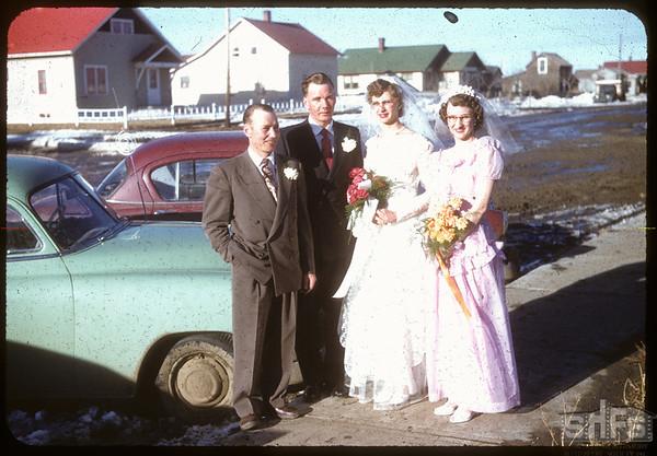 Patterson - Johnson wedding party.  Shaunavon.  04/06/1955