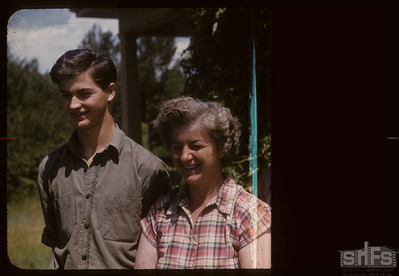 Mrs Albert Thompson and Hugh, Admiral,  07/06/1957