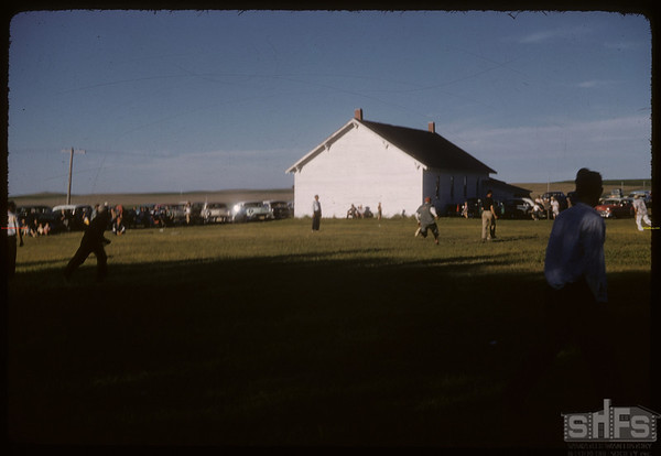 """Play Ball"" Maple Leaf hall.  Shaunavon.  07/01/1957"