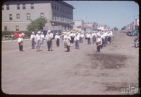 Shaunavon Band - fair parade.  Shaunavon.  07/20/1954