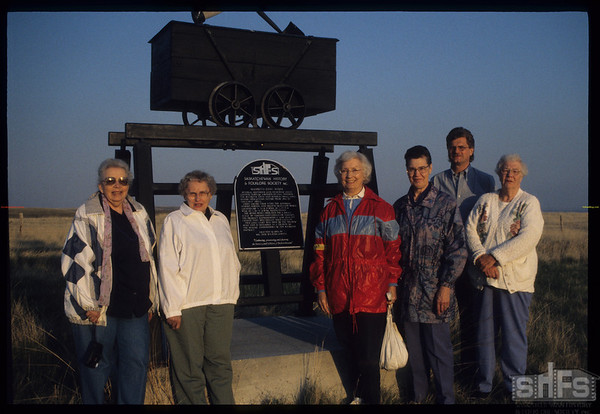 SHFS - LHM Plaque honouring the work of independent coal miners - 20 kms south of Mankota - Terri Prince - Evelyn Rogers - Pat Wagner - Velma Rosenburger - Finn Andersen & Rosemary Torjusen.  Mankota.  05/18/2000