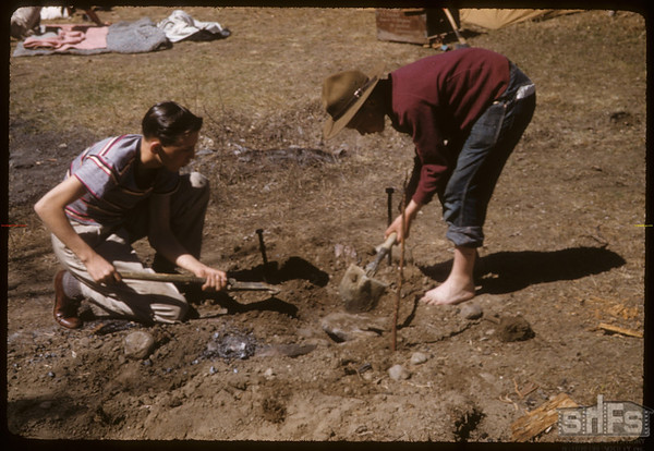 Boy Scout Barbecue Digging for  dinner.  South Fork.  04/28/1957