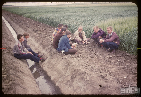 Co-op school students study irrigation systems at Experimental Farm.  Swift Current.  07/10/1952