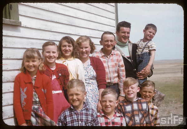 Wendell Stroh and school kids.  Rosefield.  04/30/1957