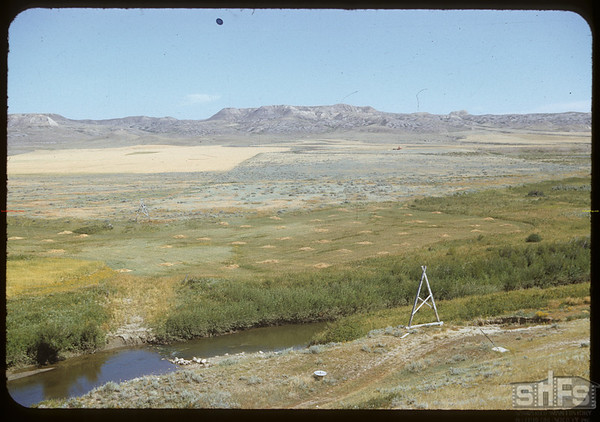 White Mud River and water measuring equipment.  Val Marie.  08/19/1952