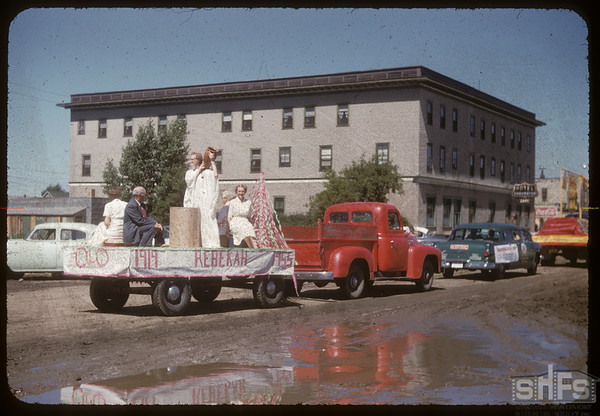 Jubilee Fair Parade - Rebekah's Lodge float.  Shaunavon.  07/26/1955