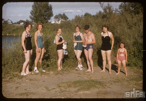 Co-op school swimmers - Mary Oliver - Jeanne Nikish - Marge Carleton - Sheryn Kemfer - Louisa Kemfer - (one unidentified) and Bill Hamilton.  Swift Current.  07/09/1956