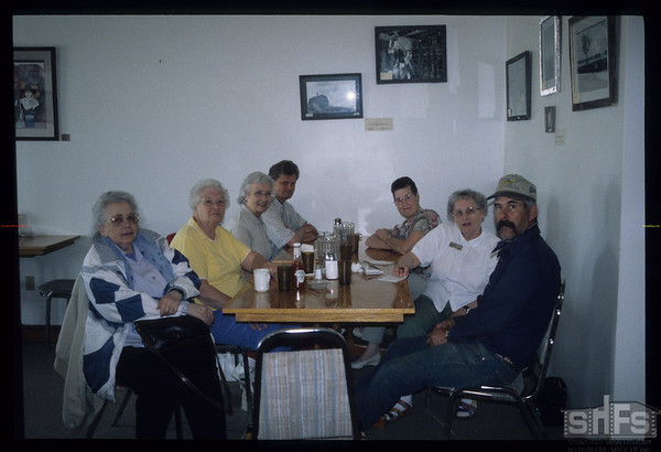 SHFS's Board of Director's - lunch building up strenght before heading out to work on refurbishment of NWMP Trail..  Mankota.  05/19/2000