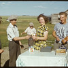 Co-op refreshment - Gordon Ross & Agnes Malone.  Dynneson Field Day..  Shaunavon.  08/02/1950