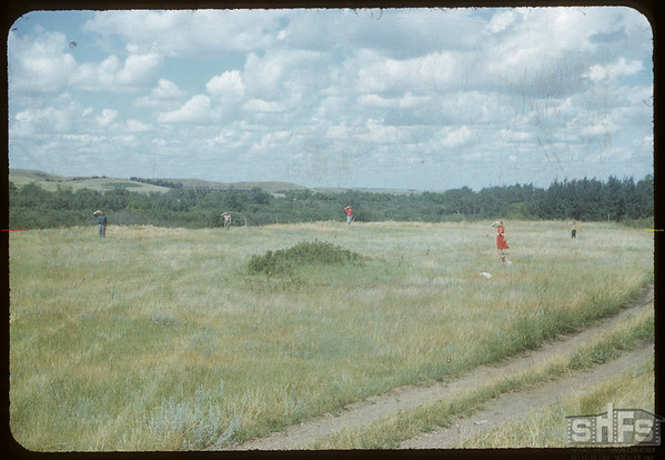 Upper site of NWMP  - Walter Thomas family occupy sites of former buildings..  Wood Mountain.  08/07/1954