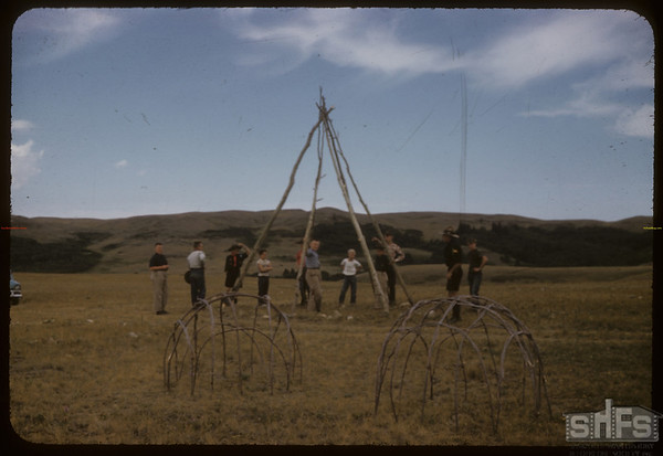 Eastend Boy Scouts Setting Up Tepee Poles.  South Fork.  08/24/1957