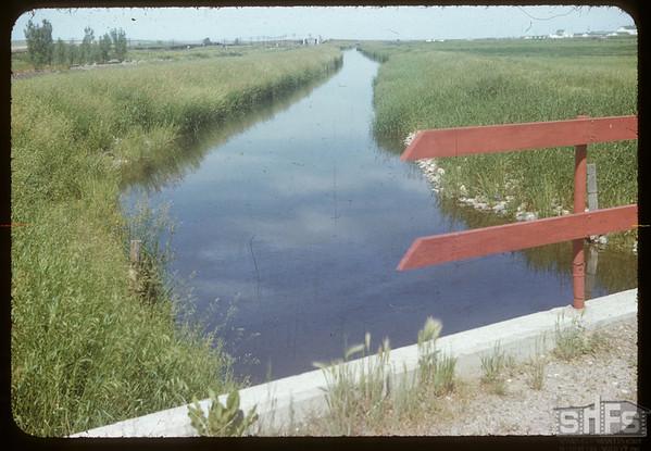 Irrigation canal from Duncairn Dam.  Swift Current.  07/08/1954