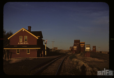 Admiral railway station at sunset. Admiral.   08/19/1950