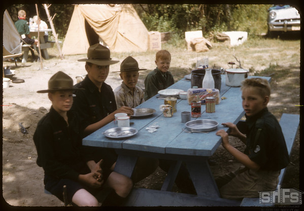 Eastend Boy Scouts at Dinner Pine Park.  South Fork.  08/24/1957