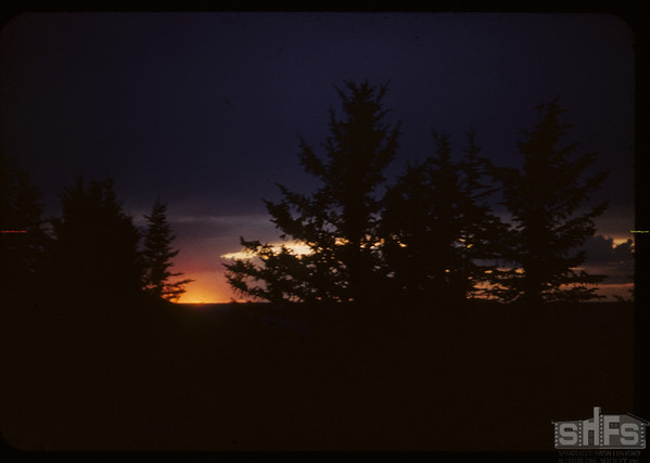 Sunset - South rim White Mud Valley near Fort Walsh Trail.  Eastend.  07/14/1954