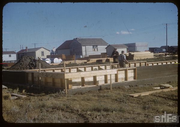Beginings of Co-op lumber yard.  Shaunavon.  10/08/1954
