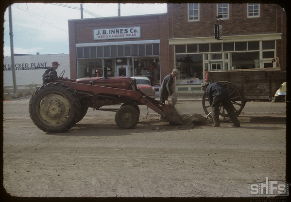 Town road maintenance.  Shaunavon.  10/09/1954