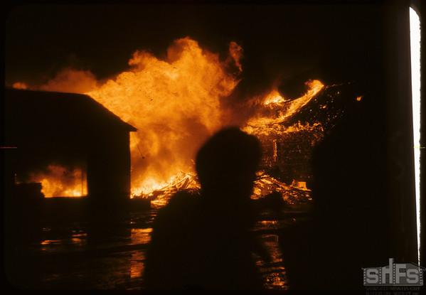 Pomier House garage fire - Ralph Johnson perished.  Shaunavon.  02/21/1958