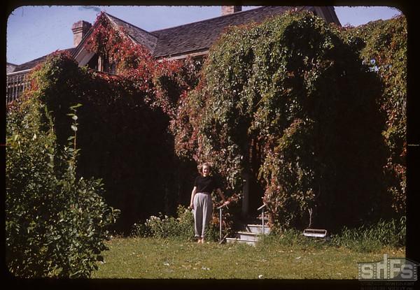 Bernice Hanson Stewart at Old Tenaille home. Eastend. 09/16/1952
