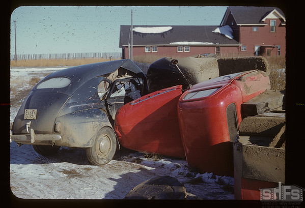 Collision - Richard and Bill Acker's oil truck - Orkney vs Ken Cave Hazenmore car. Hazenmore.  10/25/1951