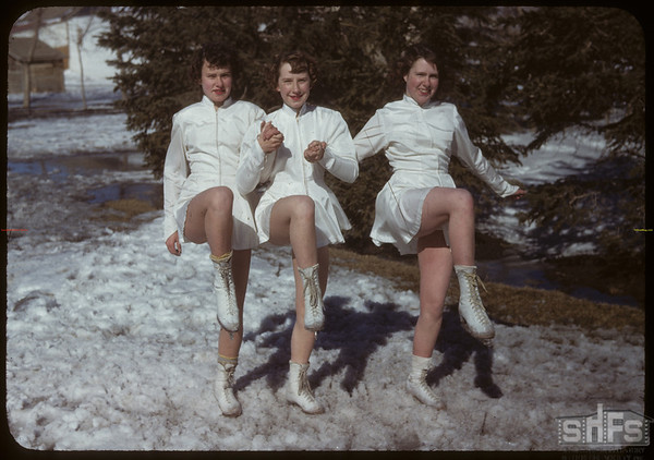 Skating Club - Jacquline Beggs - Jean Osberg and Arlene Behrman.  Shaunavon.  03/21/1950