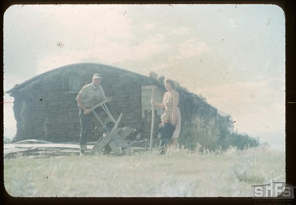 Sod House - Mr. & Mrs. Sid Cheeseman. McCord. 08/14/1954