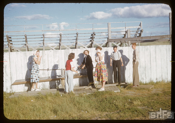 Outdoor wash stand at Swift Current fair ground - Co-op school.  Swift Current.  07/12/1951