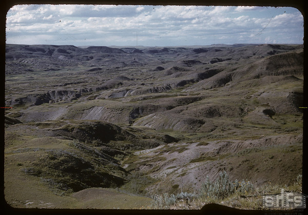 Bad lands on McNabb's ranch.  Val Marie.  06/29/1957