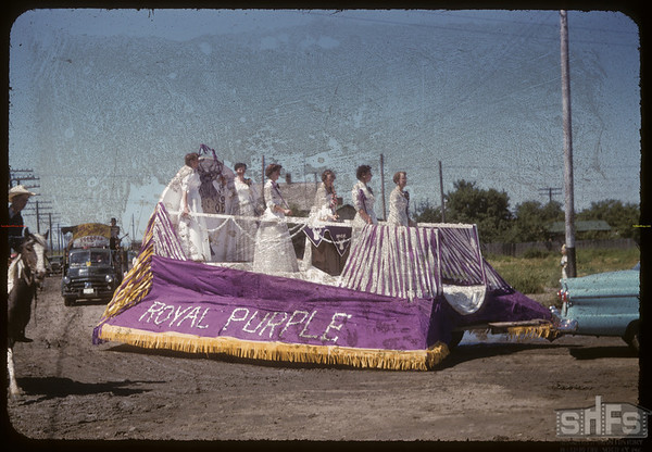 Jubilee Fair Parade - Royal Purple float.  Shaunavon.  07/26/1955