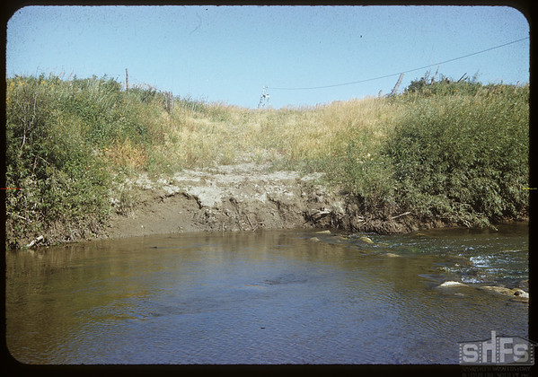 White Mud crossing and water measuring equipment at John Trottier's.  Val Marie.  08/19/1952