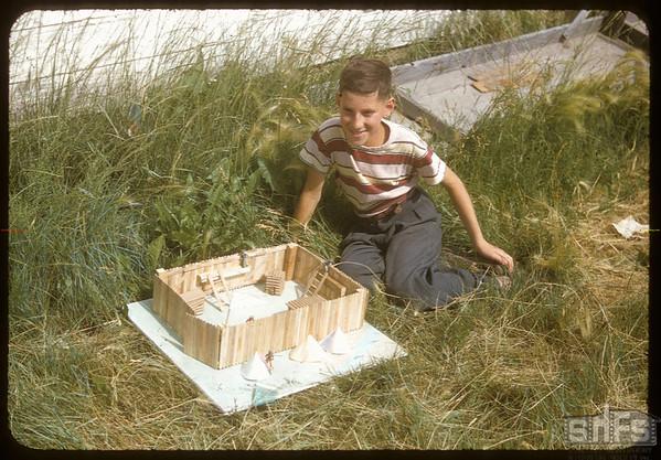 Murray Hyman [with model] fort..  Shaunavon.  07/27/1955