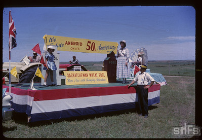 Aneroid's Jubilee parade - Wheat Pool float. Aneroid. 07/06/1963