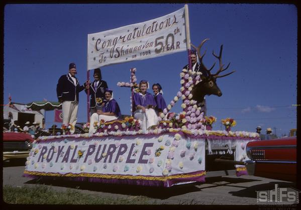 Shaunavon Jubilee Parade - Royal Purple float.  Shaunavon.  08/17/1963