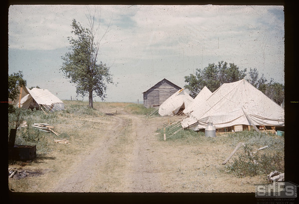 Acrhaeological tent - 6 miles south and 3 miles west of Gull Lake. Gull Lake.  07/16/1960