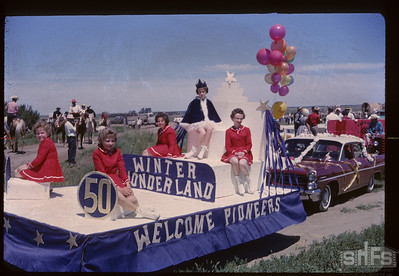 Aneroid's Jubilee parade - Winter Wonderland float. Aneroid. 07/06/1963