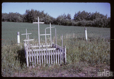 Common grave [of those] killed in Battle of Batoche.  Gone in 1964. Batoche. 06/28/1961